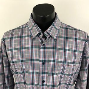 Alan Flusser Button Up Shirt Plaid Mens XL